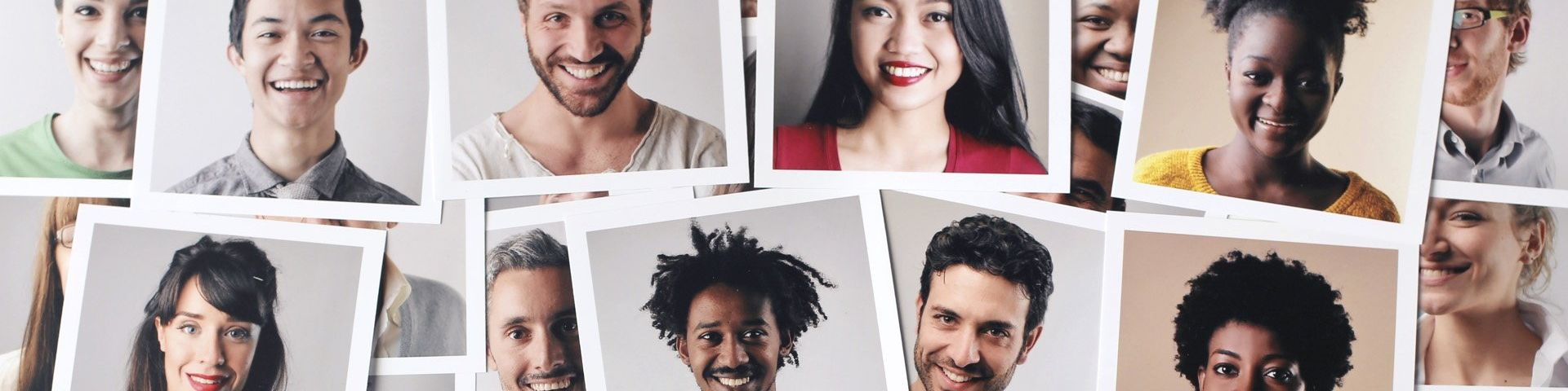 A selection of 'polaroid' style photos of smiling young people.